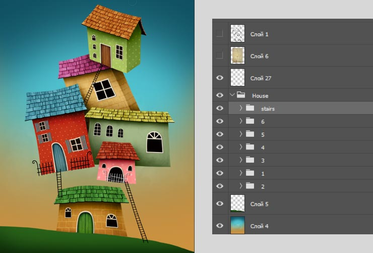 Photoshop Tutorial: Whimsical Wonders - Step 11 - All Ladders and Fences & Photoshop Layers