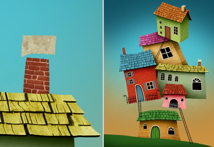 Photoshop Tutorial: Whimsical Wonders - Step 12 - All Chimneys