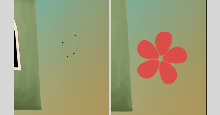 Photoshop Tutorial: Whimsical Wonders - Step 14 - Flowers Pen Tool & Flowers