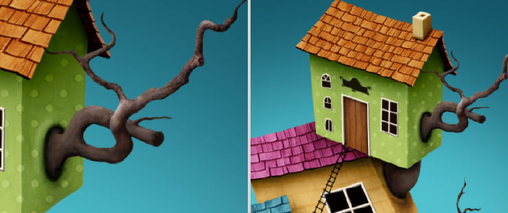 Photoshop Tutorial: Whimsical Wonders - Step 15 - Tree Branch in Wall