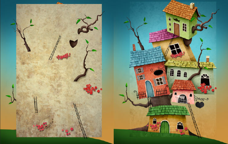 Photoshop Tutorial: Whimsical Wonders - Step 16 - Overlay Texture & Overlay Texture Blending