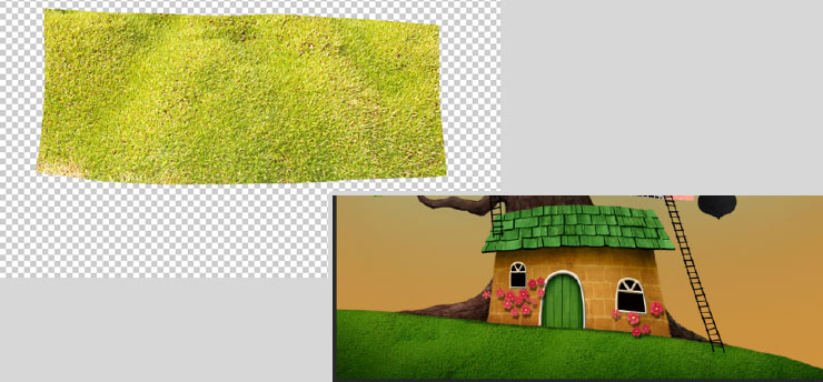 Photoshop Tutorial: Whimsical Wonders - Step 16 - Grass Texture Complete
