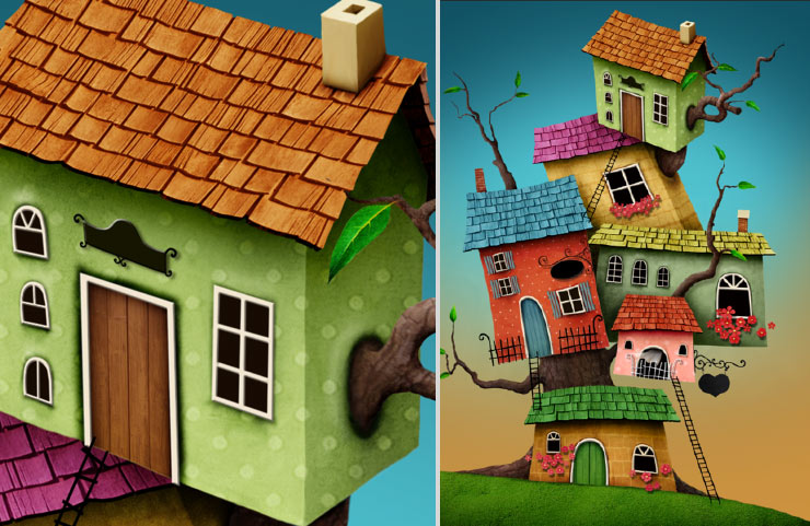 Photoshop Tutorial: Whimsical Wonders - Step 17 - Adding Shadows & Completed Shadows