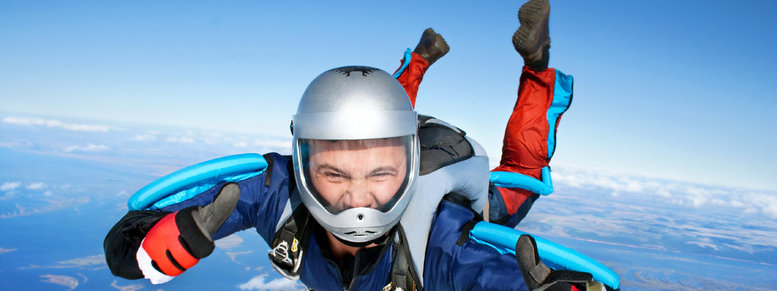 Stock photo: skydiver. all right! thumbs up!