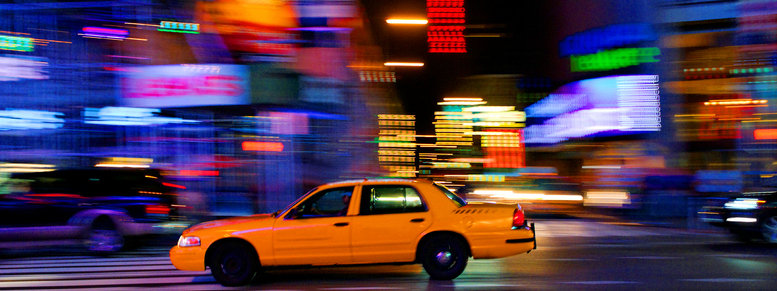 Stock photo: taxicab on city street
