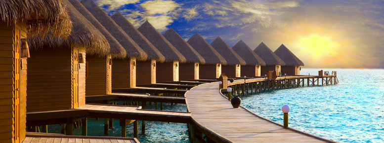 Stock photo: maldives. villa on piles on water at the time su