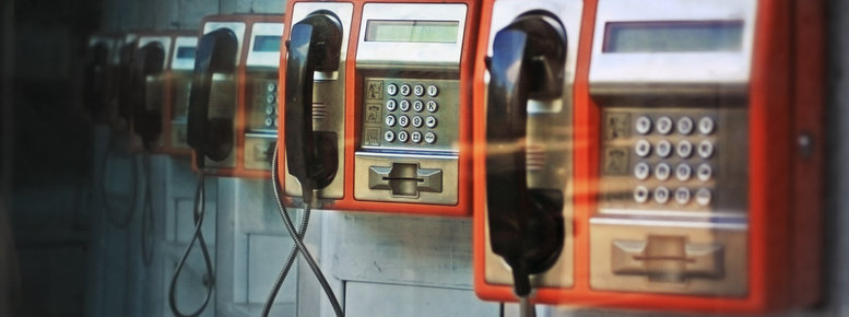 Stock photo: orange payphones