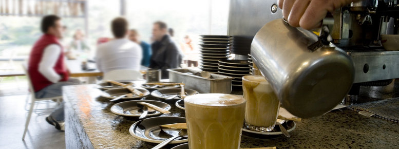Stock photo: making latte's and coffee