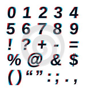 Vector Stereo alphabet. Numbers
