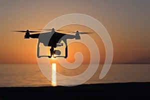 Заход солнца и quadcopter