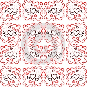 Abstract texture with hearts in red tones isolated