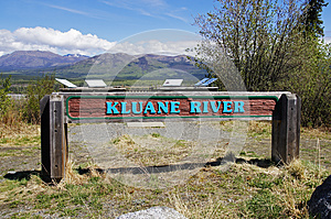 Alaska Highway Canada Kluane River Sign