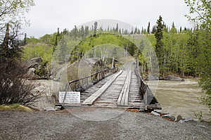 Alaska Highway River Wooden Bridge
