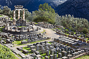 Ancient Greek Temple of Athena in Delphi