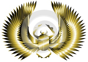 Artistic golden scarab with wings isolated