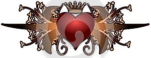 Artistic heart with floral fangtasy isolated