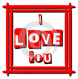 Artistic I love you background in red white and black