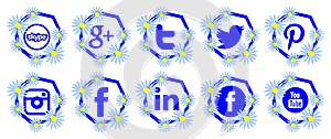 Artistic Set of social networks icons isolated