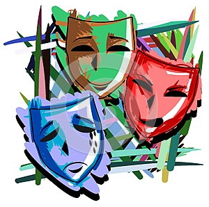 Artistic Theater masks on abstract colorful background