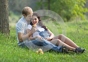 Attractive family in the park