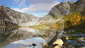 Autumn Mountains, Nigard Glacier, Lake, Norway
