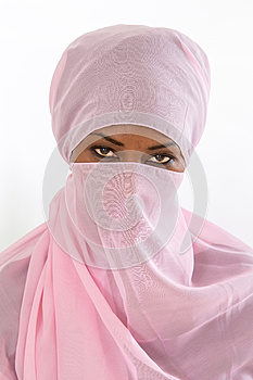 Beautiful  black african muslim woman wearing pink headscarf