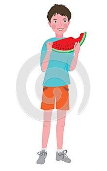 Boy eating a ripe melon