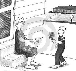 Boy giving grandmother flowers.