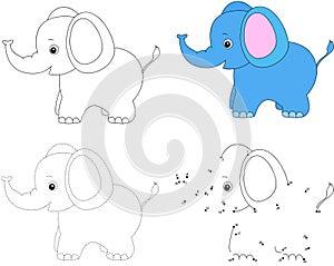Cartoon elephant. Vector illustration. Dot to dot game for kids