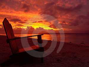 Chair and Sunset in cook islands