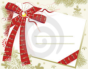 Christmas card template with red bow and space for text