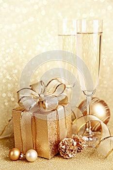 Christmas gift box with glasses