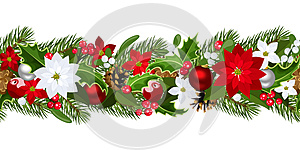 Christmas horizontal seamless background, by Naddiya, Agency: Dreamstime.com