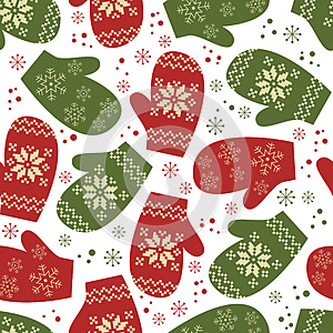 Christmas seamless pattern with winter mittens, by Sivanova, Agency: Dreamstime.com