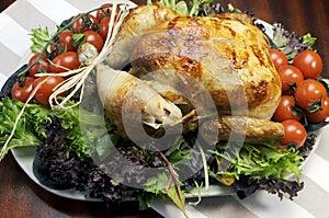 Christmas or Thanksgiving roast chicken turkey dinner