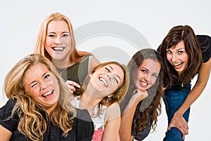 Cinco Mulheres De Sorriso Imagem De Stock