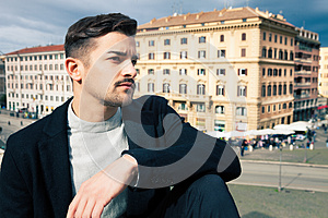 City handsome man, fashion modern hair