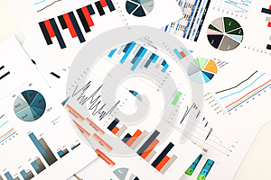 Colorful graphs, charts, marketing research and business annual report background, management project, budget planning, financial