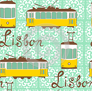 Colorful seamless pattern with tipical Lisbon tram (vector, raster,  illustration, transportation)