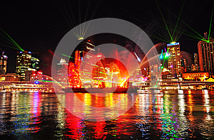 The colors of the night reflected in the river of Brisbane city, Australia