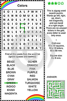 Colors themed wordsearch puzzle