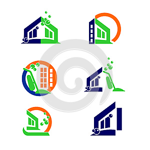 Commercial Home Cleaning Logo and Apps Icon Design Elements