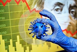 COVID-19 impacts to business, graph of stock market crash during coronavirus pandemic, world economy hits by novel corona virus