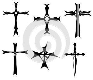 set of Crosses tattoo in black