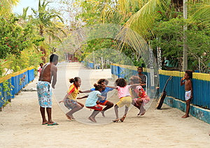 Dancing Papuan kids