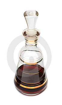 Decanter with red liqueur