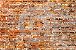 Detailed old red brick wall background texture