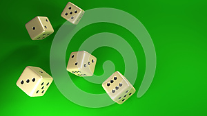 Dice rolling green background