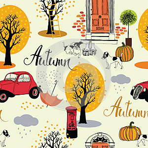 Dogs, vintage cars, pumpkins and autumn trees. Seamless backgrou