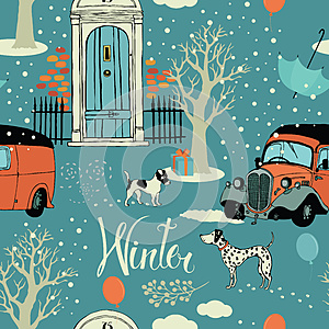 Dogs, vintage cars, snow and winter trees. Seamles